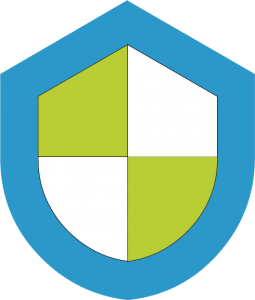 a graphic image showing a blue, green and white shield