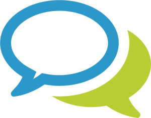 a graphic image of green and blue speech bubbles