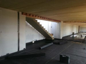 An image showing advanced preservations work on a basement conversion during construction