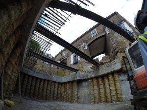 an image of the foundations of a building from underneath