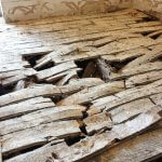 An image showing dry rot outbreak destroying suspended timber floor in a residential dwelling