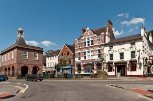 Reigate town centre, which includes a row of period buildings such as Market Hotel