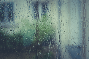 An image showing rain from april showers on a window