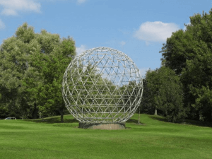 an image of a globe sculpture in Surrey