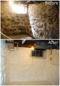an image of a before and after of a basement that has been protected with a damp proof coating